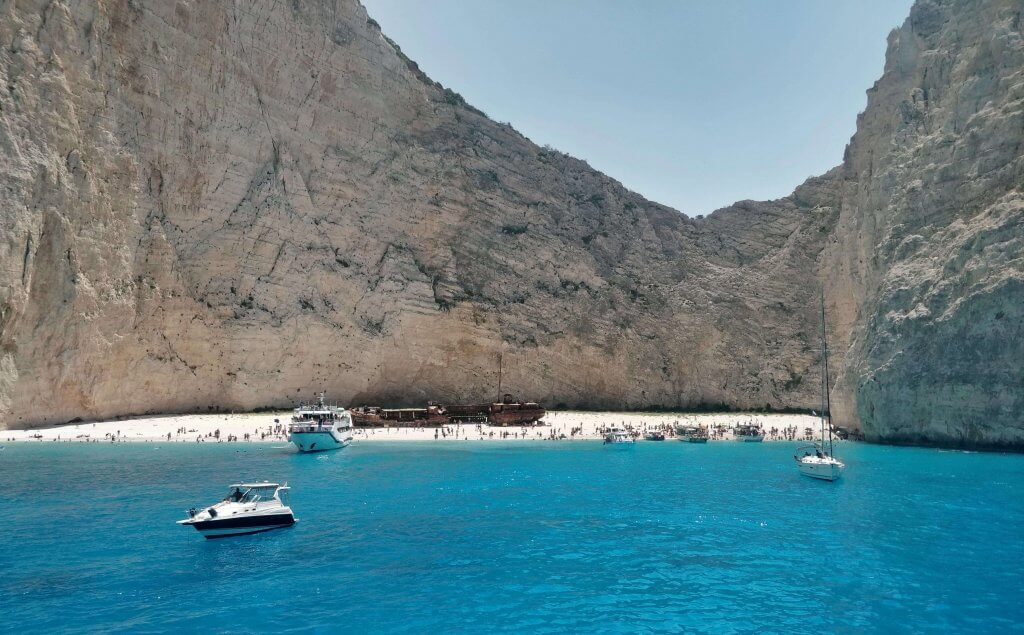Look over the Navagio Beach froma a boat
