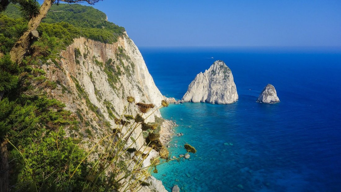 View from Cliffs of Keri on the Mizithres in Zakynthos