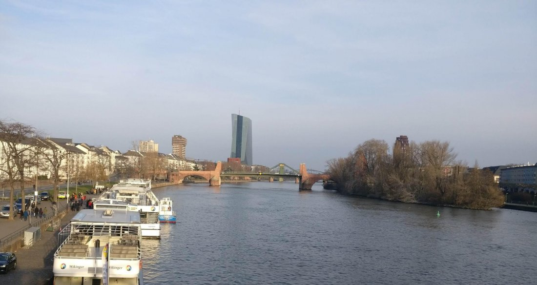 View on the European Central Bank from the Iron Bridge